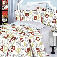 Apple Letter, 100% Cotton 4PC Duvet Cover Set (Full Size)